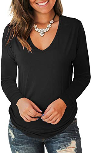 2019 Womens Dark T-shirt - Jescakoo Fall Long Sleeve Blouses for Women Fashion 2019 T Shirts Black XL