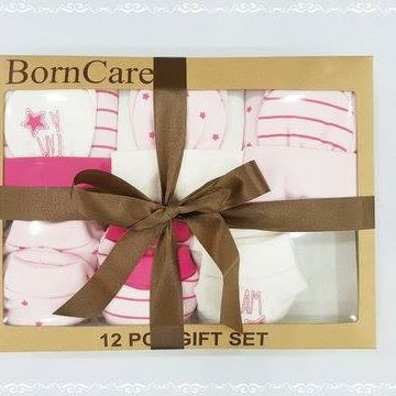 Baby shower gift for girls pink set baby girl gift set gifts caps washcloths booties mittens BornCare brand 12 Pack, 0-6 Months by BornCare (Image #2)