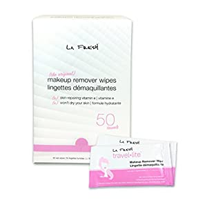 La Fresh Makeup Remover Cleansing Travel Wipes – Natural, Waterproof, Facial Towelettes With Vitamin E – Individually Wrapped & Sealed Packets (Large Size - 50 Count)