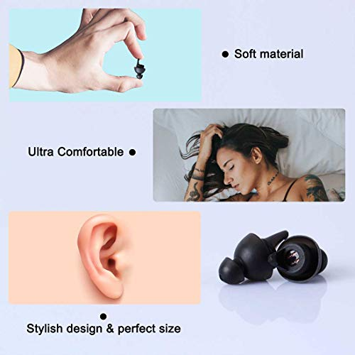 LYSIAN Ear Plugs for Sleeping, Reusable Noise Reduction Soft Silicone Ear Plugs, 27 db NRR Comfortable Ear Plugs for Hearing Protection, Snoring, Work, Travel and Loud Events by LYSIAN (Image #2)
