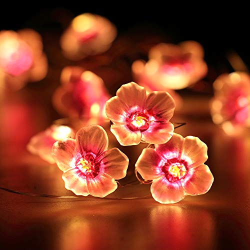 HuTools Flower Lights for Bedroom Christmas Decorations Pink Cherry Blossom String Lights 10ft 30 LEDs Battery Powered for Nursery Baby Room Decor (Flower Bedroom Lights For String)