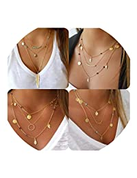 Multilayer Chain Pendant Layered Necklaces for Women Beads Leaf Costume Jewelry 4Pcs