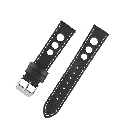- Ivystore 20mm 22mm 24mm 3 Holes Genuine Italian Leather Rally Racing Sport Watch Strap with Quick Release Spring Bar And Stainless Steel Buckle (24mm, Black)