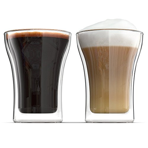 Anchor and Mill Double Walled Coffee Glasses, 7.5 Ounce Set of 2, Cappuccino Cups, Latte, Espresso, Nespresso, Value Plus Set (Co2 Distributor 3 Way 5 16)