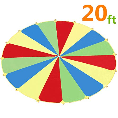 Sonyabecca Parachute, Play Parachute 20ft with 16 Handles for Kids Cooperation Group Play]()