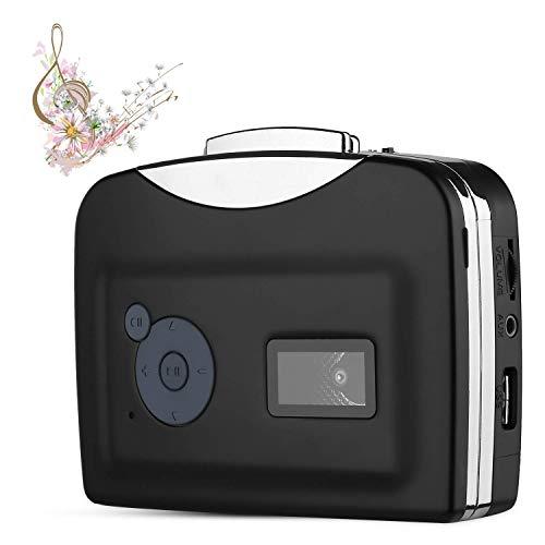Livepow Cassette to MP3 Converter USB Cassette Converter Cassette Player with Earphone, Portable Cassette Converter Convert Tapes to Digital Version (Black)