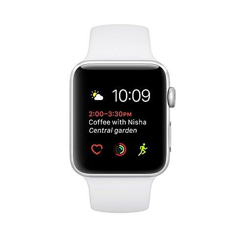 Apple watch series 2 42mm ALUMINUM Case SPORT (Silver Aluminum Case with White Sport Band) by Apple (Image #1)
