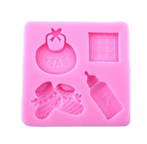 (Baby Shower, Bib, Booties and Bottle Silicone Mold - Custom Decorating Silicone Molds from Bakell)