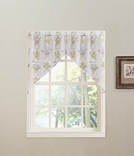 No. 918 Eve's Garden Floral Print Kitchen Curtain Swag Pair, 54