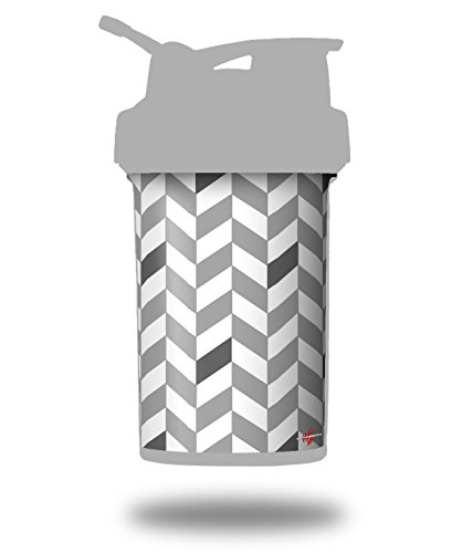 Chevrons Gray And Charcoal - Decal Style Skin Wrap fits Blender Bottle 22oz ProStak (BOTTLE NOT INCLUDED) ()