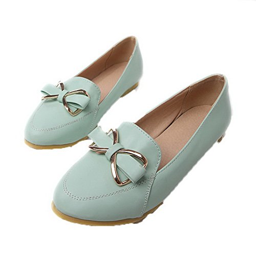 Odomolor Women's Pointed Closed Toe Pull-on PU Solid No-Heel Pumps-Shoes Blue 8TghboWSJN