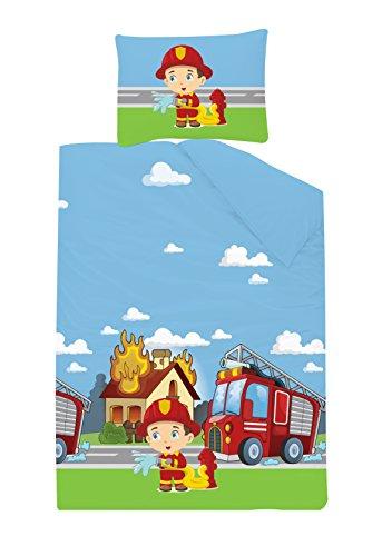 Kinderbettwäsche Feuerwehr 2-teilig 100% Baumwolle 40x60 + 100x135 cm mit Reißverschluss (Feuerwehr)