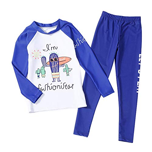 Piece Clothes Western 2 (Girls Cartoon Swimwear Quick Drying Surfing Water Games Two Piece Bathing Suit 8-9T White/Blue)