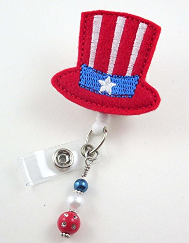 4th of July Flag Hat - Nurse Badge Reel - Retractable ID Badge Holder - Nurse Badge - Badge Clip - Badge Reels - Pediatric - RN - Name Badge Holder