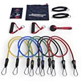 Master of Muscle Resistance Bands - 11pc Set - With Door Anchor & Ankle Strap for Legs Workout & Carry Case - Heavy Duty Anti-Snap Technology - Bonus 20 Fat Burning Workouts Ebook