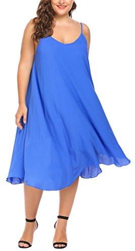 Involalnd Plus Size Women's Summer Spaghetti Strap Chiffon Dress Sleeveless Beach Slip Dress Loose Fit Casual (Sleeveless Chiffon Dress)