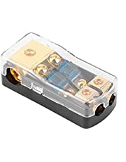Fuse Distribution Block, 0/4 Gauge In To 4/8 Gauge out 60A Fuse Block Holder 2 Way Mini ANL Fuse Holder Compatible with Auto Boat o System