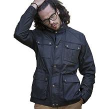 VEDONEIRE Mens Wax Jacket (3050 BLACK) motorbike style coat waxed designer