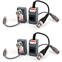 uxcell 2 Pair BNC Male to RJ45 DC Power Converter Audio Video Balun for CCTV PTZ Camera