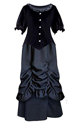 Cykxtees Victorian Steampunk Gothic Renaissance Velvet Top & Bustled Skirt (1X, Black)