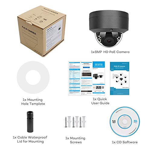Anpviz 4K 8MP POE IP Security Dome Camera with Microphone, Audio Indoor Outdoor, Wide Angle 2.8mm Lens, 98ft, IP66 Weatherproof Onvif Compliant Grey