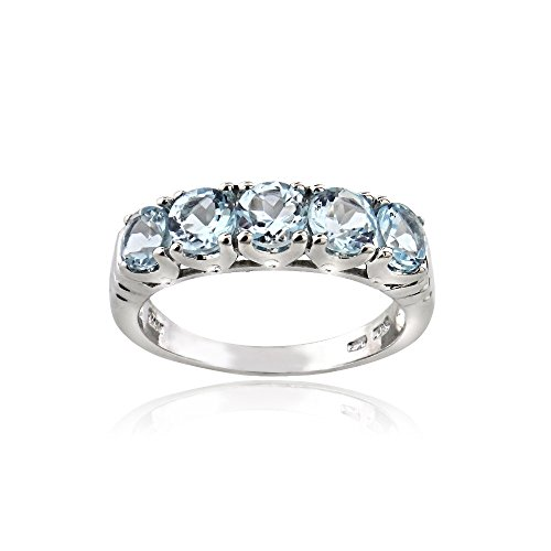 Sterling Silver Blue Topaz Half Eternity Band Ring