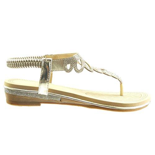 Angkorly - Chaussure Mode Sandale salomés slip-on femme strass diamant tréssé Talon bloc 4 CM - Or