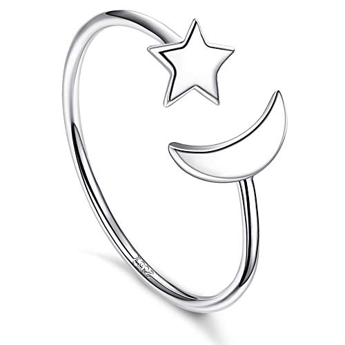 Sllaiss 925 Sterling Silver Moon Star Open Ring for Women Girls Adjustable Size 6-10 Knuckle Ring Jewelry Gift