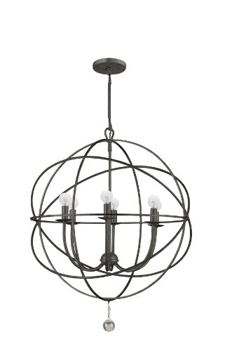 (Crystorama 9226-EB Transitional Six Light Chandeliers from Solaris collection in Bronze/Darkfinish,)