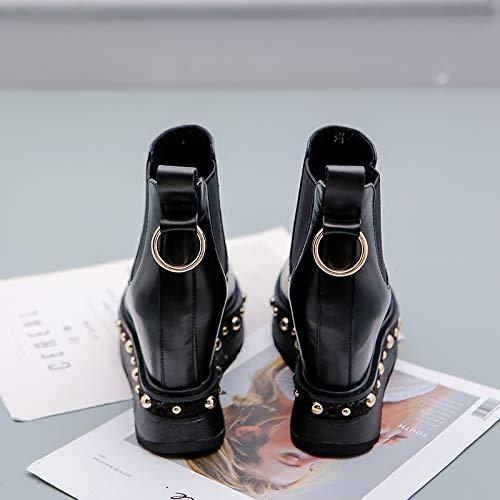 HBDLH Damenschuhe Mode 100 Sätze Heel 9Cm 9Cm 9Cm Martin Stiefel Innere Höhe Neigung Bei Dicken Hintern Nieten - Stiefel d9e71b