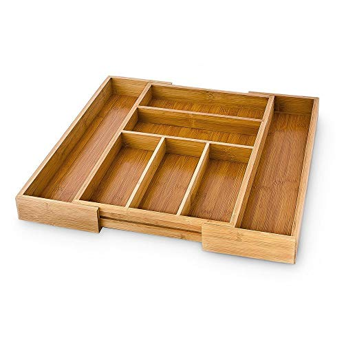 Relaxdays Besteckkasten verstellbar H x B x T: ca. 5 x 48 x 46 cm Schubladeneinsatz aus Bambus mit 5 bis 7 Fächern als…