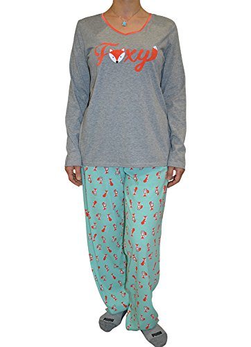 Alfa Global Women's Short and Long Sleeve Pajama Sets with Pj Pants (M, Foxy/Long) (Plus Size Pajamas)