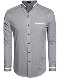 Men's Casual Long Sleeve Stand Collar Button Down Shirt