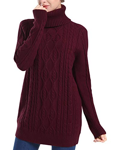 PrettyGuide Women's Long Sweater Turtleneck Pullover Tunic Sweater Tops M Burgundy