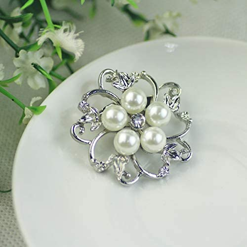 Mecool Broches Broches Faux Perle Broches Ronde Forme Fleur Broche /Écharpe Pin-Blanc