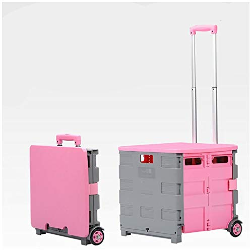Large Folding Boot Cart Foldable Shopping Trolley Supermarket Grocery Shopping Trolley Fold Up Storage Box with Wheels and Lid Crate for Teachers College Books (Color : Pink, Size : 45L)