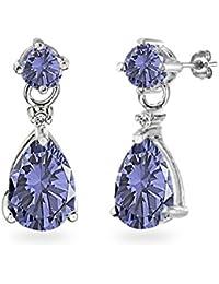 Sterling Silver Genuine, Created or Simulated Gemstone Teardrop Dangle Earrings