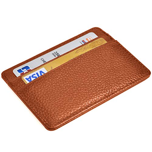 RFID Credit Card Holder Slim Wallet Leather Minimalist Wallet with ID Window (brown)