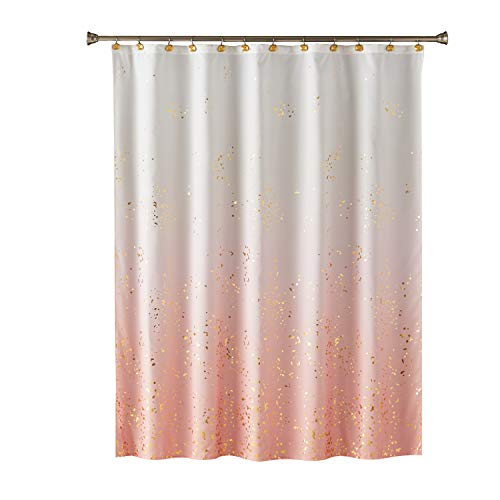 SKL Home by Saturday Knight Ltd. Splatter Fabric Shower Curtain, Pink (And Curtains Gold Pink)