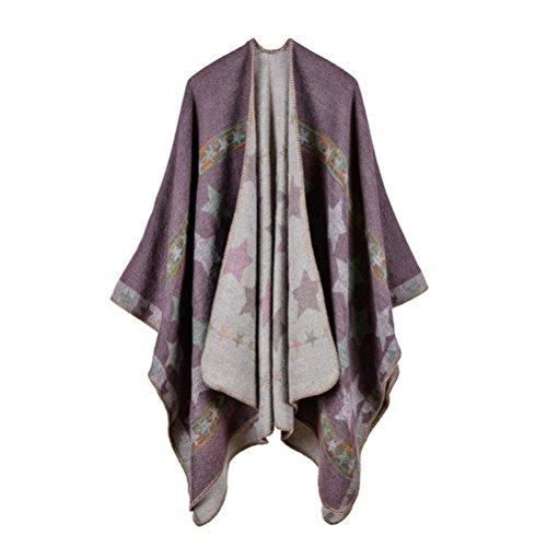 Jelinda Women Blanket Shawl Wrap Open Poncho Cape Winter Large Warm Star Scarf (khkai) (Star Cape)