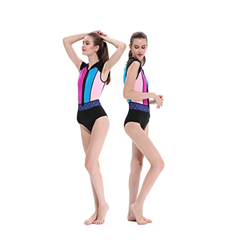 GoldFin Wetsuit Womens 2mm Spring Suit Front Zip Neoprene Bikini Surf Swimwear Short Sleeves High Cut One Piece for Swimming Canoeing Rafting Kayak Floral Printed SW010 (01, - Cut Wetsuit High