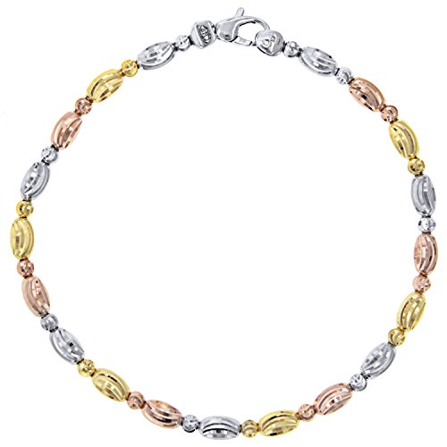 Officina Bernardi Sterling Silver Tri-color Oval Station Bracelet (7) by Officina Bernardi