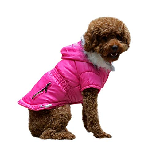 (Pet Sweater,JHKUNO Pet Hoodie Reversible Jacket Coat with Zipper Pocket Winter Clothes Warm and Soft Dog Coats)