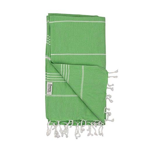 Classic Cotton Boat Tote - Essential Turkish Towel Peshtemal in 100% Cotton for Beach Bath Swimming Pool Yoga Pilates Picnic Blanket Scarf Wrap Hammam Fouta Turkish Bath Towels Beach Towel (Green)