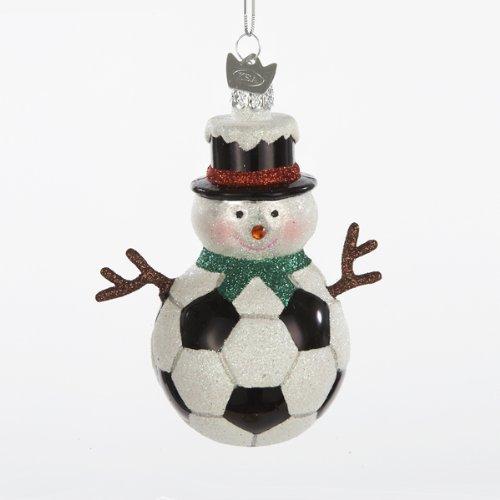 Kurt Adler Noble Gems Glass Soccer Snowman Ornament -