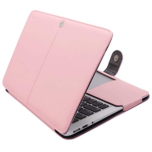 MOSISO Case Only Compatible with MacBook Air 11 Inch A1370 / A1465, Premium PU Leather Book Folio Protective Stand Cover Sleeve, Rose Quartz