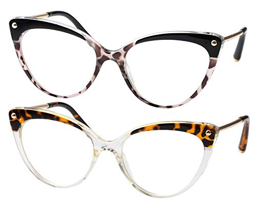 SOOLALA Ladies Oversized Cat Eye Reading Glass Modern Eyeglass Frame, LeoTrans, 2.5