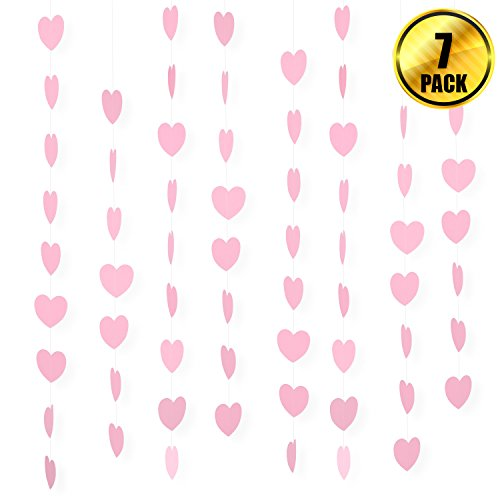 WXJ13 7 Pack Party Pink Heart Paper Garland Backdrop Decorations Total Length 41.3 Feet/13.7 Yards Party Hanging Decoration for Photo Booths, Weddings, Valentines Day, Baby Shower, Birthdays, and New - Paper Heart Garland