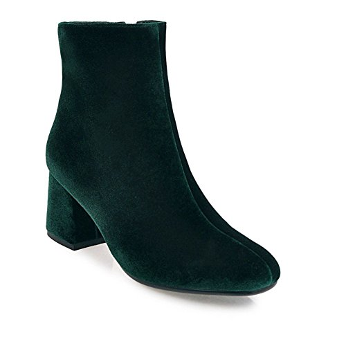 KingRover Women's Faux Suede Chunky Heel Ankle Booties Green Iv7MCy0xRh