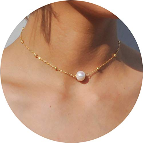 MOCANALA Gold Choker Necklace Dainty Pearl Crystal Pendant Delicate Sequin Coin Disc Bead Fishbone Chevron Chain Necklaces for Girls (Pearl)